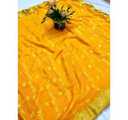 women's Yellow marbal chiffon foil printed saree gnp0107737