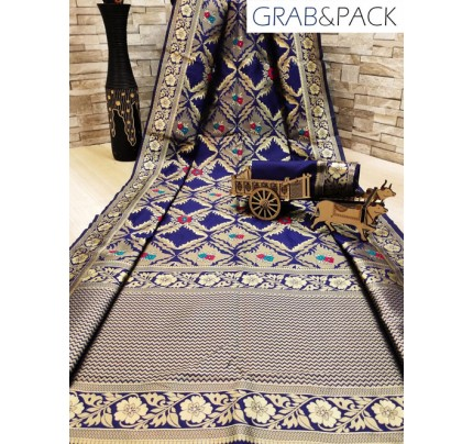 woven silk sarees online in Blue gnp007700 - GrabandPack online shopping