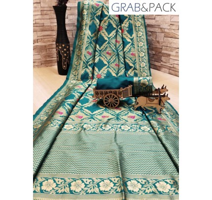 woven silk sarees online in Blue gnp007705 - GrabandPack online shopping