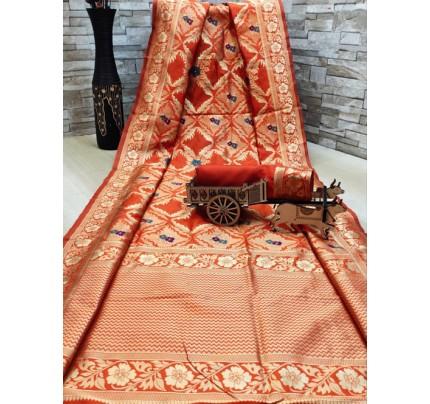 woven silk sarees online in Orange gnp007701 - GrabandPack online shopping