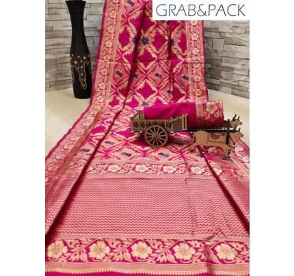 woven silk sarees online in Pink gnp007702 - GrabandPack online shopping
