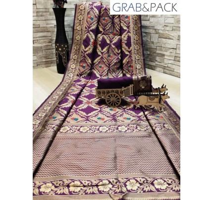 woven silk sarees online in Purple gnp007703 - GrabandPack online shopping