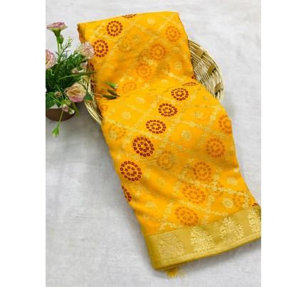 Yellow Marble Chiffon Printed Saree by grabandpack gnp0107765