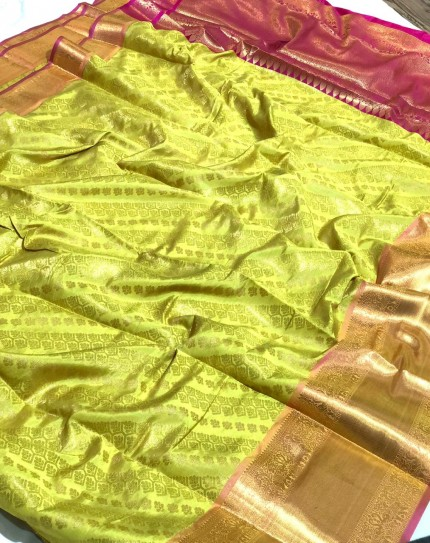 Green Banarasi Silk With Zari Work Saree - gnp009392