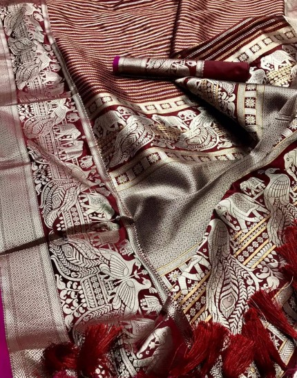 kanchipuram silk saree in maroon