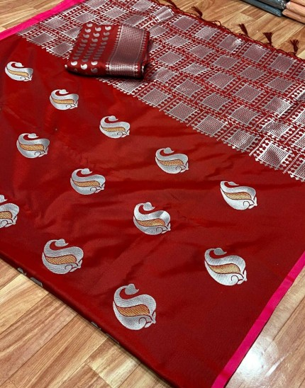 red silk saree with silver border