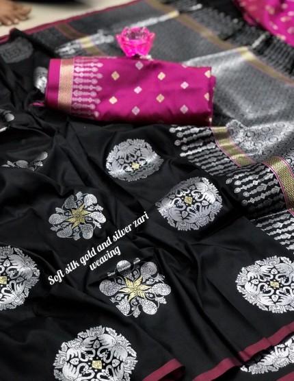 Beautiful Lichi Silk Weaving Jacquard Saree grabandpack