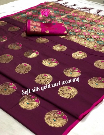 Women's Maroon Banarasi Silk Weaving Jacquard Saree