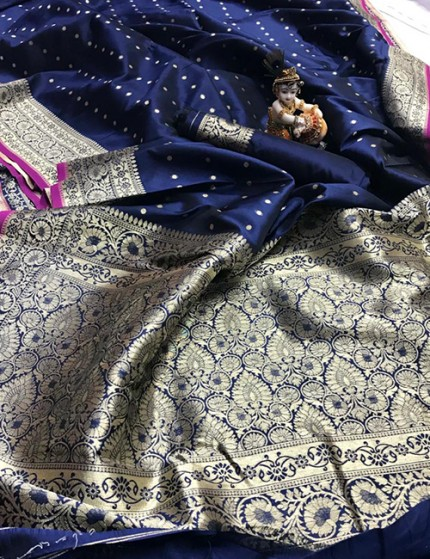 Blue Pure Banarasi Soft Silk Saree with Zari Weaving - gnp009994