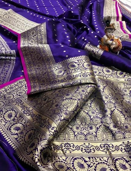 Blue Pure Banarasi Soft Silk Saree with Zari Weaving - gnp009995
