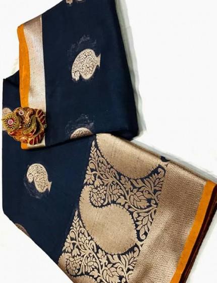 Blue Soft Linen Silk Saree with Gold Zari and Meena Work - gnp009892