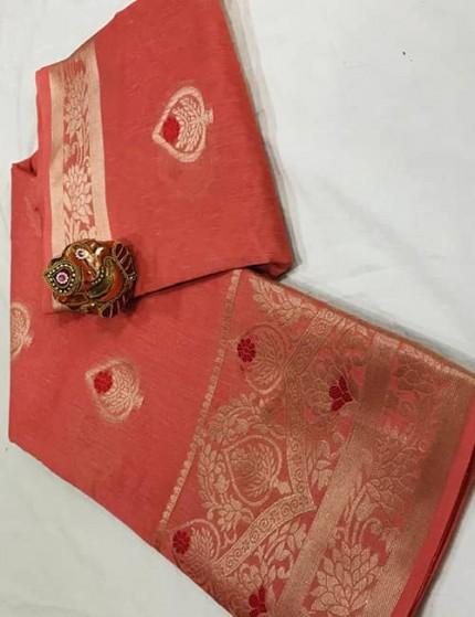 Gajri Soft Linen Silk Saree with Gold Zari and Meena Work - gnp009893