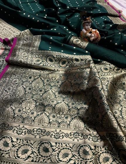 Green Pure Banarasi Soft Silk Saree with Zari Weaving - gnp009996