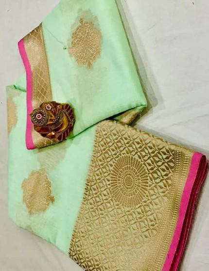 Green Soft Linen Silk Saree with Gold Zari and Meena Work - gnp009894