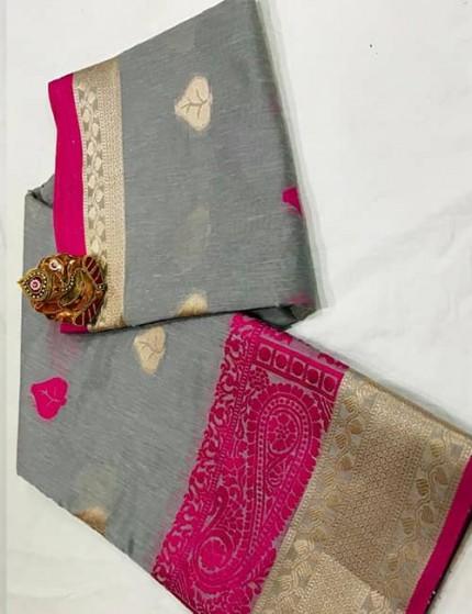 Grey Soft Linen Silk Saree with Gold Zari and Meena Work - gnp009895