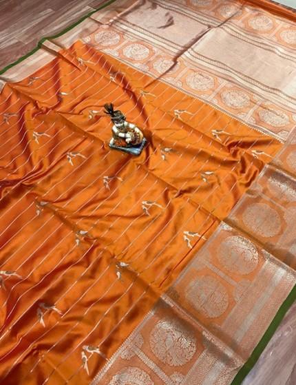 Orange Pure Jacquard Fabric with Silver and Gold Zari Weaving Saree - gnp009989
