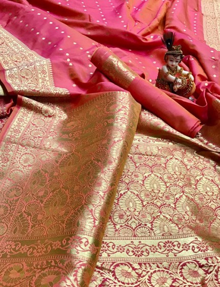 Peach Pure Banarasi Soft Silk Saree with Zari Weaving - gnp009997