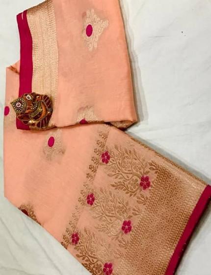 Peach Soft Linen Silk Saree with Gold Zari and Meena Work - gnp009896