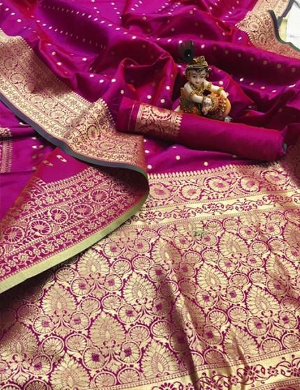 Pink Pure Banarasi Soft Silk Saree with Zari Weaving - gnp009998