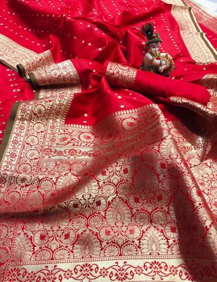Red Pure Banarasi Soft Silk Saree with Zari Weaving - gnp010000