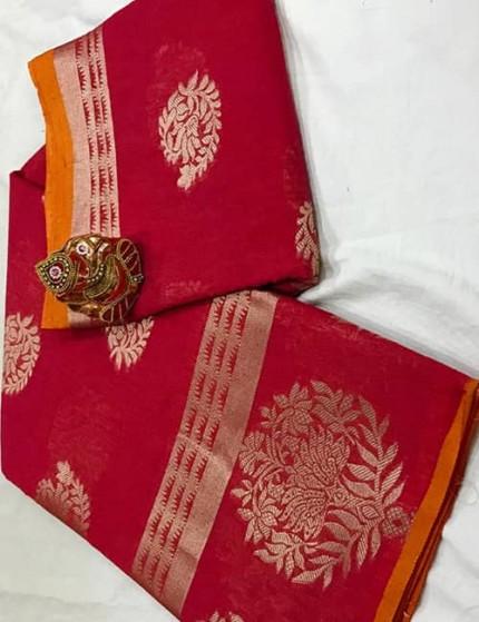 Red Soft Linen Silk Saree with Gold Zari and Meena Work - gnp009897