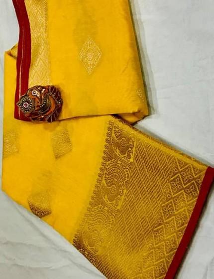Yellow Soft Linen Silk Saree with Gold Zari and Meena Work - gnp009898