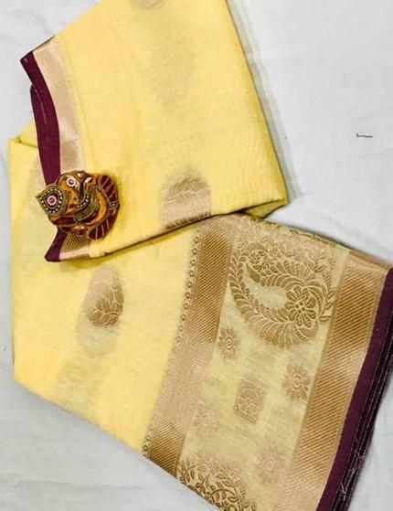 Yellow Soft Linen Silk Saree with Gold Zari and Meena Work - gnp009899