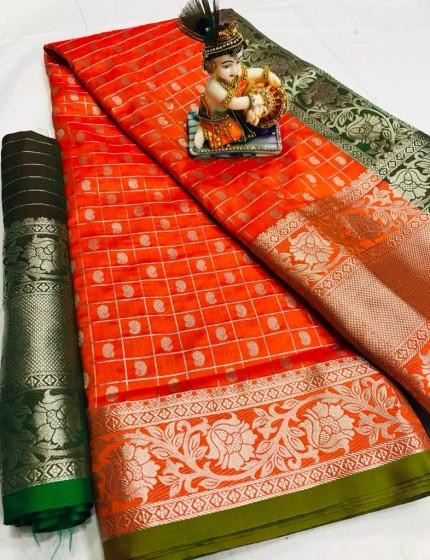 Orange Pure Silk Weaving with Chex Style and heavy Koyari Design - gnp009930