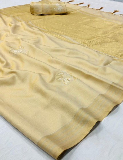 Branded Cream Soft Banarasi Silk Zari woven saree