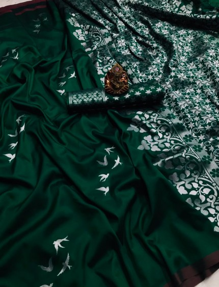 Green Lichi Silk with Zari Weaving Saree - gnp010177