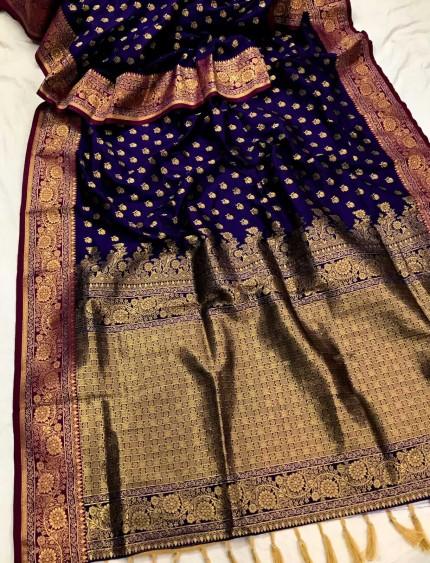 Blue Banarasi silk Party wear saree