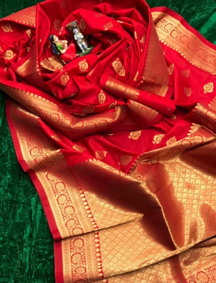 Red color Soft silk saree