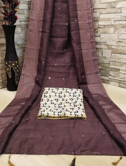 fancy soft Linen Cotton Jute silk fabric and designer blouse (Brown)