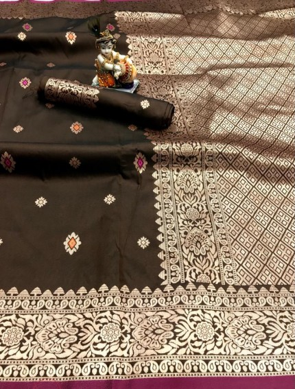 Brown Lichi Silk with Gold Zari Weaving Saree - gnp010016