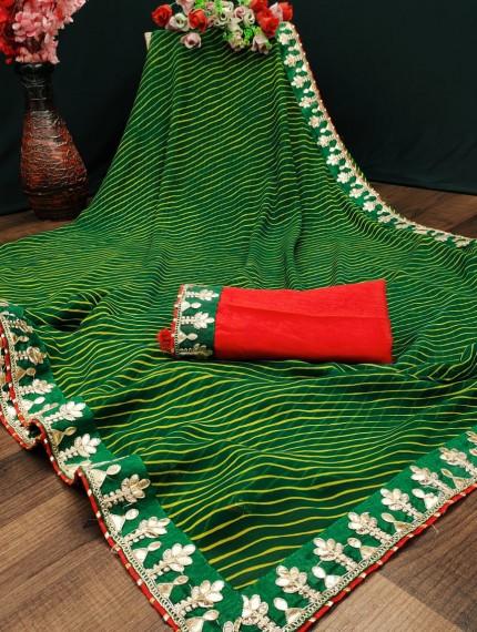 Green Coloured Lahariya Print Georgette Saree at grabandpack
