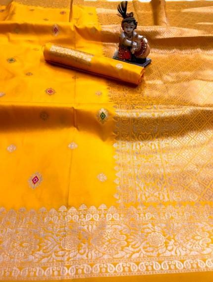 Yellow Lichi Silk with Gold Zari Weaving Saree - gnp010022