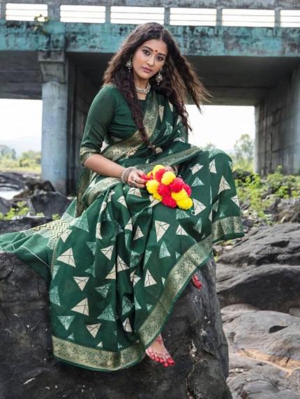 New design Soft Cotton printed saree with woven border gnp008733   best cotton sarees online - grabandpack