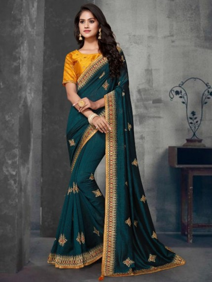 Blue Colored Embroidered Saree With Heavy Designer Blouse - gnp0108631