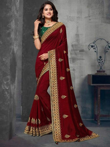 Brown Colored Embroidered Saree With Heavy Designer Blouse - gnp0108630