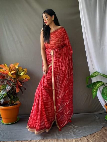 Gorgeous Chanderi Leheriya Printed saree