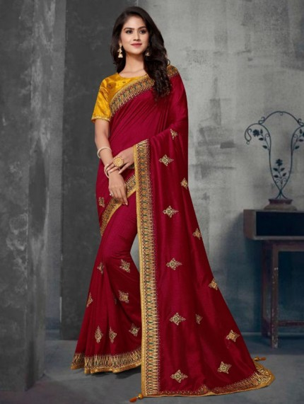 Maroon Colored Embroidered Saree With Heavy Designer Blouse - gnp0108629