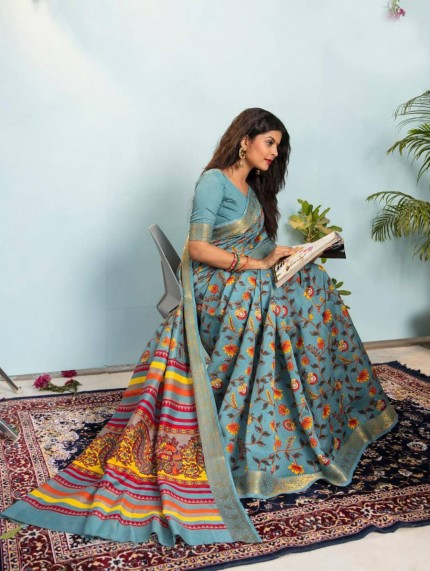 multi colour printed sarees