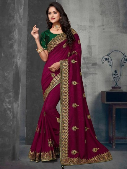 Pink Colored Embroidered Saree With Heavy Designer Blouse - gnp0108632