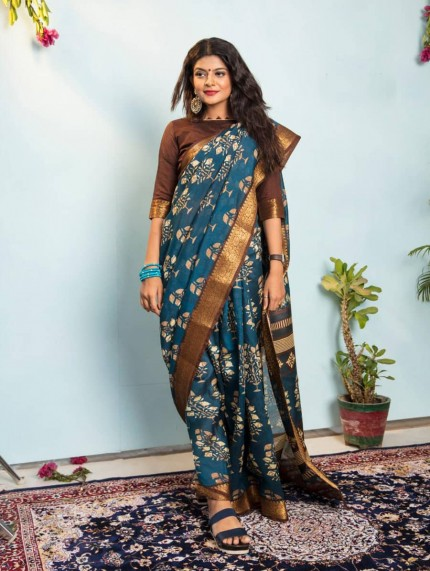 printed saree with woven border - grabandpack