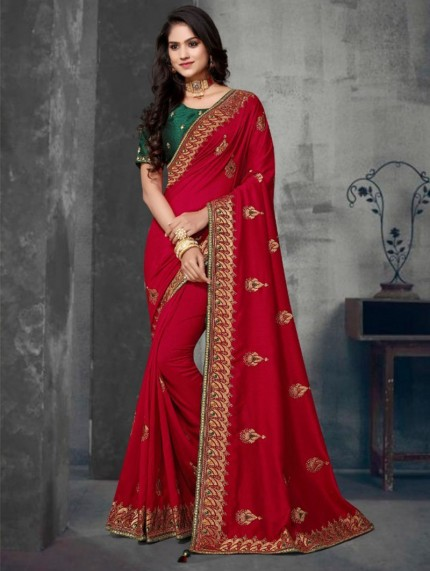 Red Colored Embroidered Saree With Heavy Designer Blouse - gnp0108628