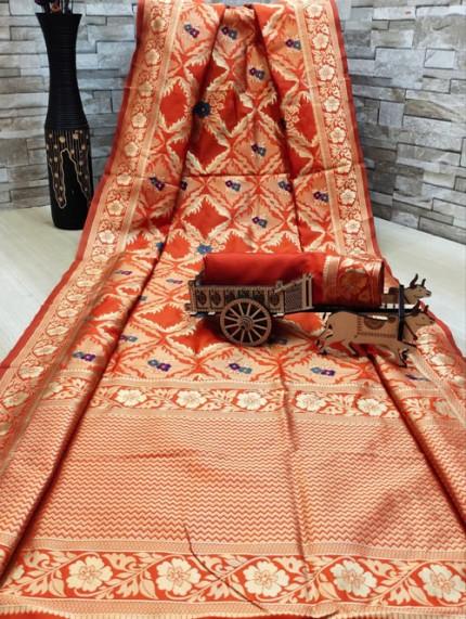 woven silk sarees online in Orange