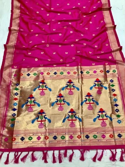 Appealing Pink Kanchipuram woven saree