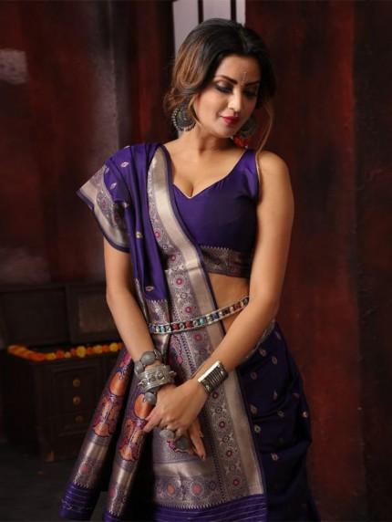 Attractive soft silk weaving saree in Blue