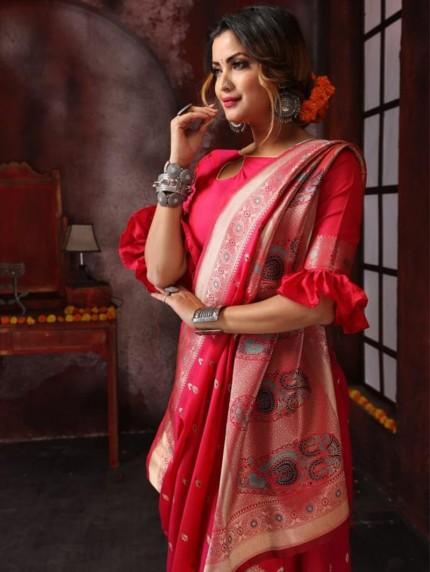 Attractive soft silk weaving saree in Pink