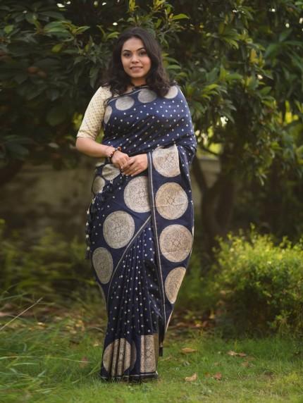 navy blue blouse and saree